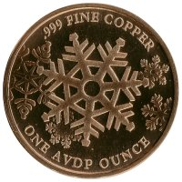 1 oz Copper Round - Christmas Series - Merry Christmas Tree Design