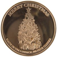 1 oz Copper Round - Christmas Series - Rudolph Design