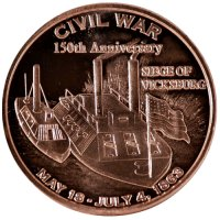 1 oz Copper Round - Civil War Series - Siege of Vicksburg Design