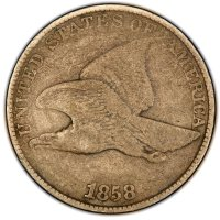 1858 Flying Eagle Cent Coin - Large Letters - Fine