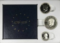 1976 U.S. Bicentennial 3-Piece Silver Proof Coin Set​ - Original Shipping Holder!