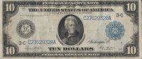 1914 $10.00 Federal Reserve Note - Large Type - Very Fine