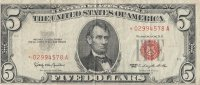 1963 $5.00 U.S. Note - Red Seal - Star Note - Fine / Very Fine