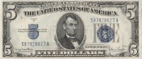 1934 $5.00 U.S. Silver Certificate Note - Blue Seal - Crisp Uncirculated