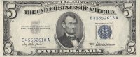 1953 $5.00 U.S. Silver Certificate Note - Blue Seal - Crisp Uncirculated