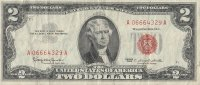 1963 $2.00 U.S. Note - Red Seal - Fine / Very Fine