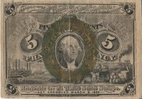 2nd Issue 1863-1867 5 Cents Fractional Currency - Civil War Era - Fine or Better