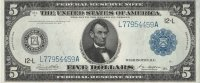 1914 $5.00 Federal Reserve Note - Large Type - Crisp Uncirculated