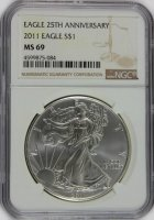 2011 1 oz American Silver Eagle Coin - NGC MS-69