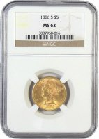 $5.00 Liberty Head Half Eagle Gold Coins - Random Dates - PCGS or NGC MS-62