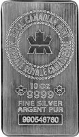 Royal Canadian Mint (RCM) 10 oz .9999 fine Silver Bar - New Style!