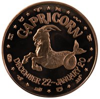 1 oz Capricorn Copper Round from the Zodiac Series