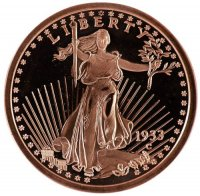 1 oz Copper Round - 1933 St. Gaudens Design