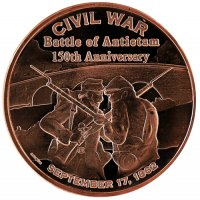1 oz Copper Round - Civil War Series - Battle of Antietam Design