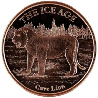 1 oz Copper Round - Ice Age Series - Cave Lion Design