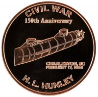 1 oz Copper Round - Civil War Series - H.L. Hunley Design