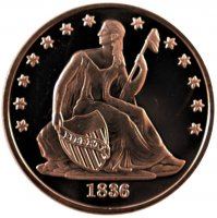 1 oz Copper Round - 1836 Seated Dollar Design