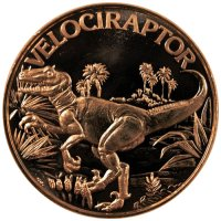 1 oz Copper Round - Dinosaur Series - Velociraptor Design