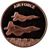 1 oz Copper Round - U.S. Air Force F-22 Raptor Design
