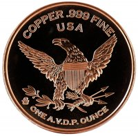 1 oz Copper Round - 3.00 Gold Piece Design