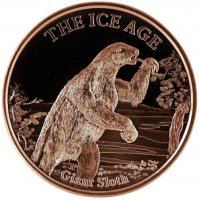 1 oz Copper Round - Ice Age Series - Giant Sloth Design