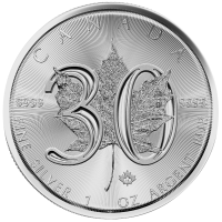 2018 1 oz Canadian Silver Maple Leaf Coin - 30th Anniversary - Gem BU