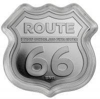 1 oz Silver - Icons of Route 66 Shield Series - New Mexico Dinosaur Museum