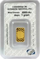 Sunshine Minting 1 gram Gold Bar - New Design (In TEP Packaging w/ Mint Mark SI™)