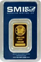 Sunshine Minting 5 gram Gold Bar - New Design (In TEP Packaging w/ Mint Mark SI™)