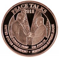 1 oz Copper Round - North Korea Peace Talks 2018 - Trump/Kim Handshake