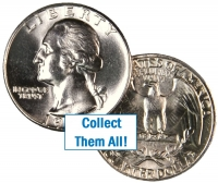 1964 Washington Silver Quarter Coin - Choice BU