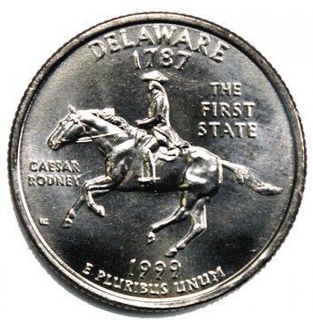 1999 Delaware State Quarter Coin - P or D Mint - BU