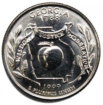 1999 Georgia State Quarter Coin - P or D Mint - BU