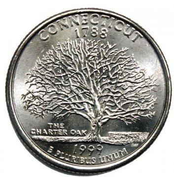1999 Connecticut State Quarter Coin - P or D Mint - BU