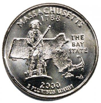 2000 Massachusetts State Quarter Coin - P or D Mint - BU