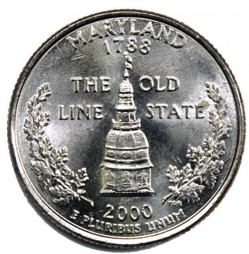 2000 Maryland State Quarter Coin - P or D Mint - BU