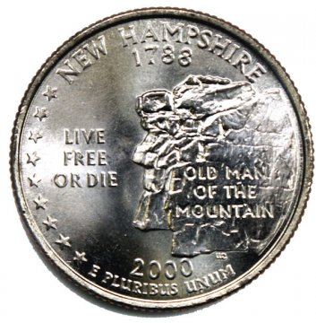 2000 New Hampshire State Quarter Coin - P or D Mint - BU