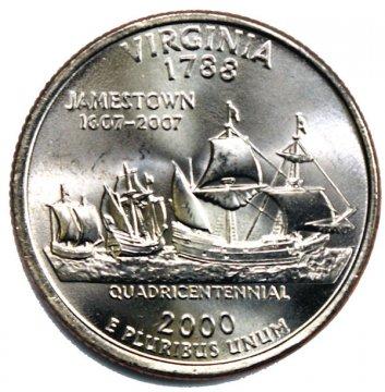 2000 Virginia State Quarter Coin - P or D Mint - BU