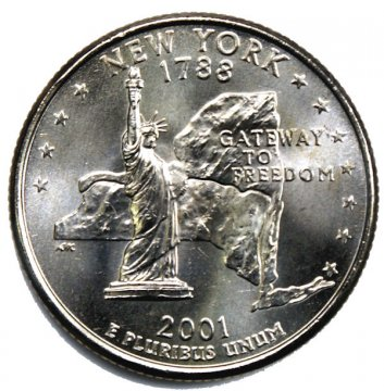 2001 New York State Quarter Coin - P or D Mint - BU