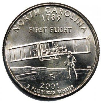 2001 North Carolina State Quarter Coin - P or D Mint - BU