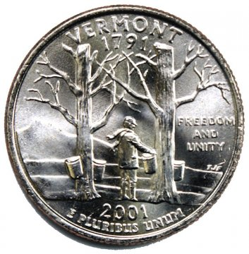 2001 Vermont State Quarter Coin - P or D Mint - BU