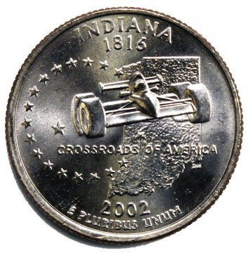 2002 Indiana State Quarter Coin - P or D Mint - BU