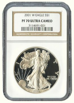 2001-W 1 oz American Proof Silver Eagle Coin - NGC PF-70 Ultra Cameo