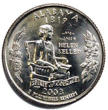 2003 Alabama State Quarter Coin - P or D Mint - BU