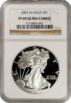 2002-W 1 oz American Proof Silver Eagle Coin - NGC PF-69 Ultra Cameo