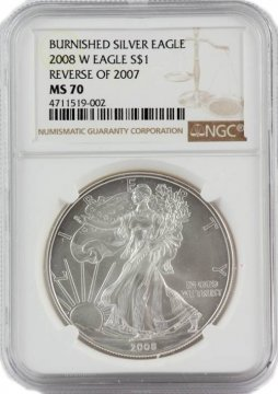 2008-W Reverse of 2007 1 oz American Burnished Silver Eagle Coin - NGC MS-70 - Very Scarce!