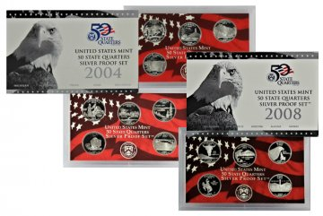 All 5 2004-2008 U.S. State Quarter Silver Proof Coin Sets
