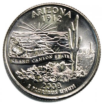 2008 Arizona State Quarter Coin - P or D Mint - BU