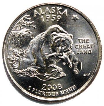 2008 Alaska State Quarter Coin - P or D Mint - BU