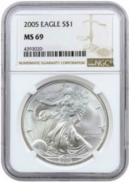 2005 1 oz American Silver Eagle Coin - NGC MS-69